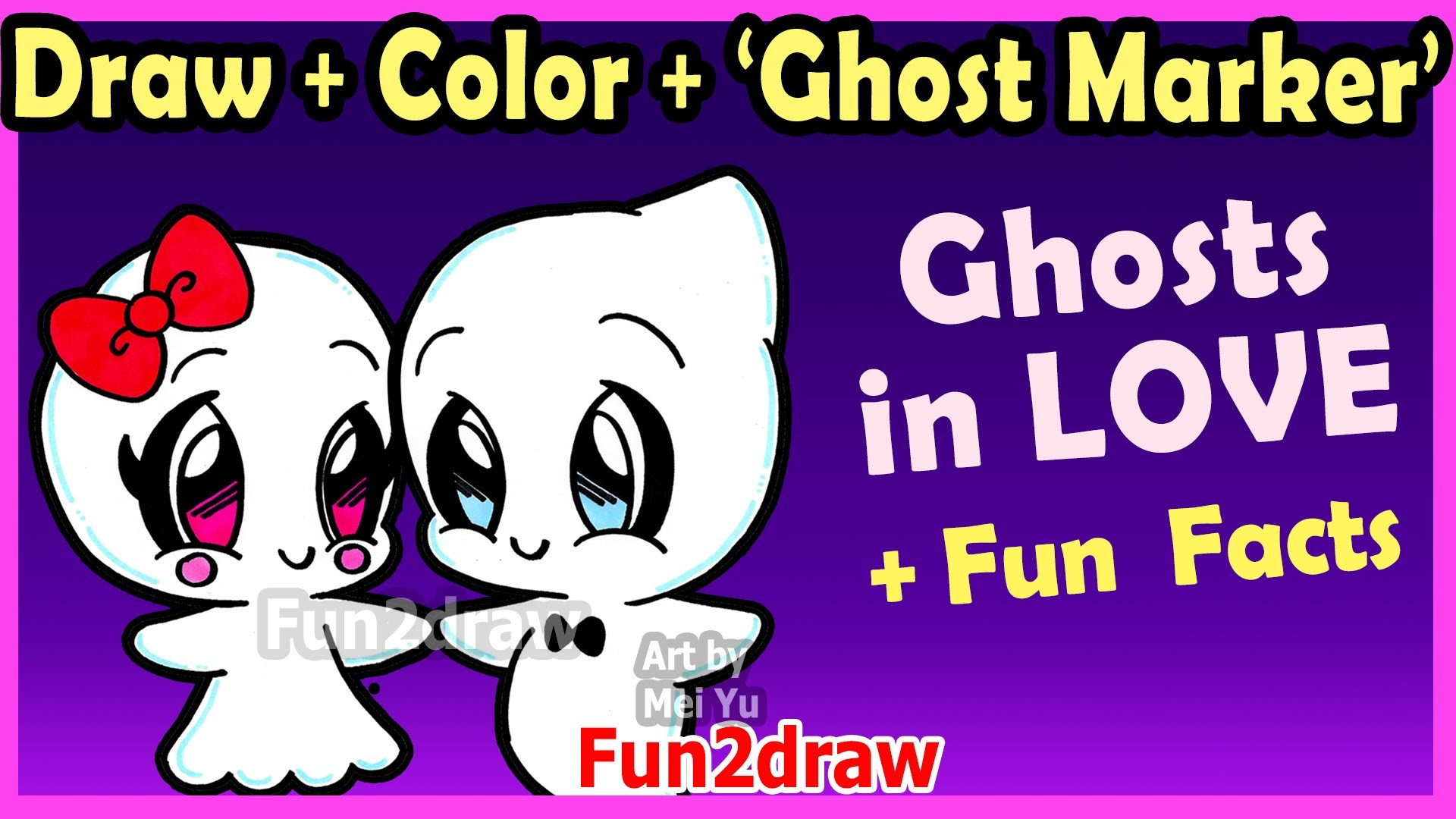 how to draw and color cute ghost couple in love - easy cartoon