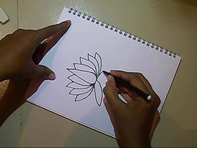 How To Draw Lotus Step By Step~Easy Drawing~