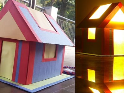 How to make a cardboard and paper house- cum-lampshade - Easy step by step instructions.