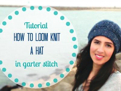 Knit hat tutorial in garter stitch on loom