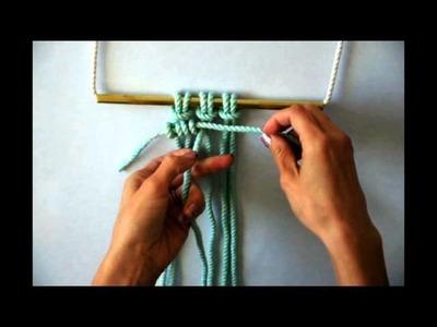 Macrame - How to tie a row of Horizontal Clove Hitch Knots