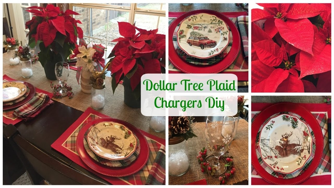 PLAID WEEK DAY 2   DOLLAR TREE PLAID CHARGERS DIY & Plaid Tablescape