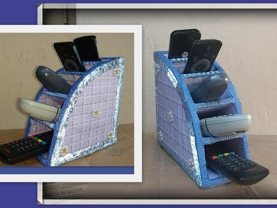 Remote control organiser.stand.rack.holder with cardboard