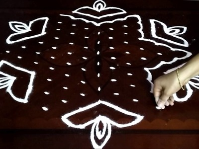 Special Diwali kolam with 13-7 middle | chukkala muggulu with dots| rangoli design