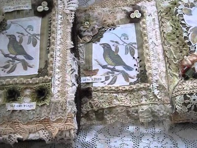 Vintage Bird Inspired altered Shoe Box n Fabric Lace Journal