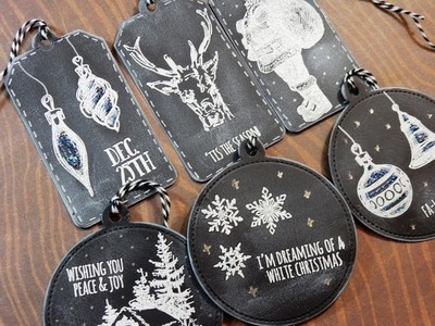 12 Days of Christmas Tags 2016 | Day 8 of 12 | Tim Holtz Holiday Drawings | Chalkboard Effect