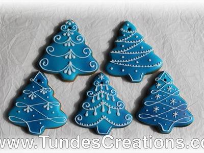Blue Christmas tree gingerbread Christmas ornaments
