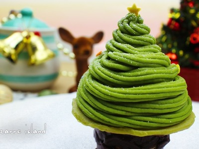 Christmas Tree Matcha Mont Blanc Recipe????| Christmas Countdown | d for delicious