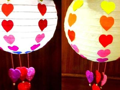 Diy How to make Valentine's Day Rainbow Paper Lantern