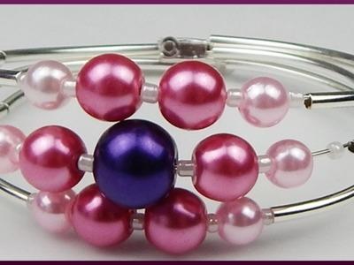 DIY | Perlen Spiralarmband mit Blume basteln | Flower Memory wire bracelet with pearls