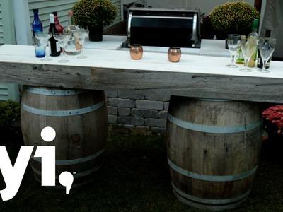 DIY Wine Barrel Bar Tutorial | Downtown Shabby | FYI