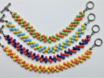 Easy Beaded beginners pattern . DIY Colorful bracelets