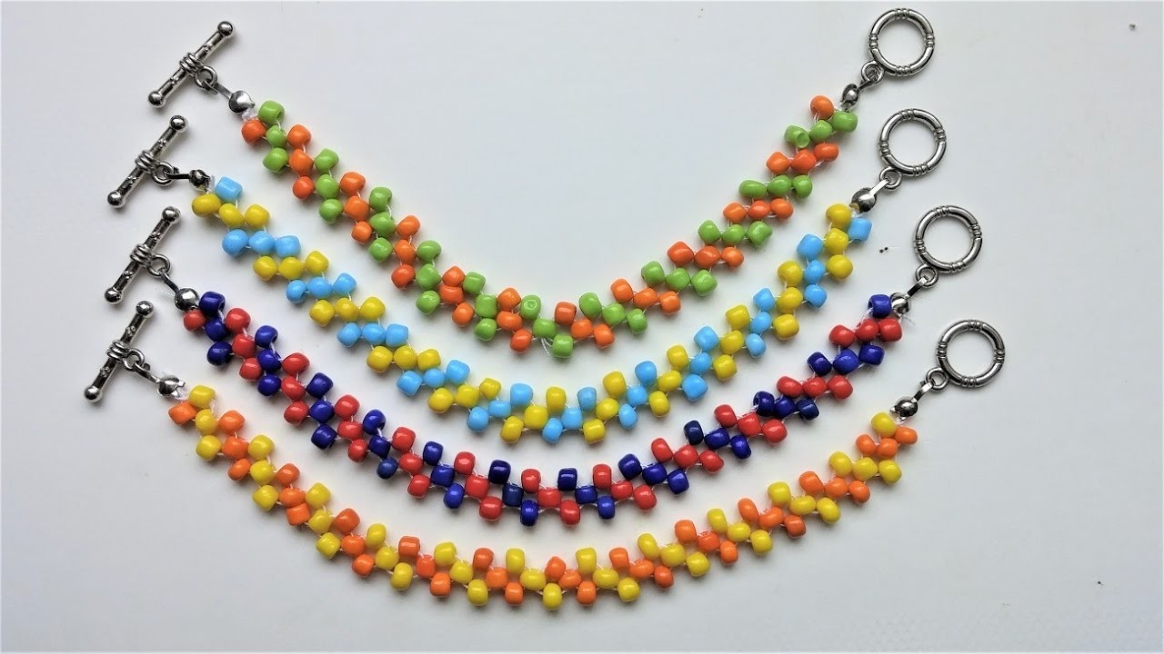 Easy Beaded beginners pattern . DIY Colorful bracelets