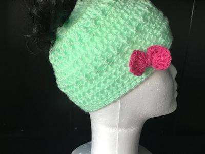 Easy Crochet Messy Bun Hat.Beanie Tutorial