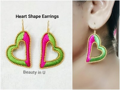 Easy Heart Shape Silk Thread Earrings | Tutorial