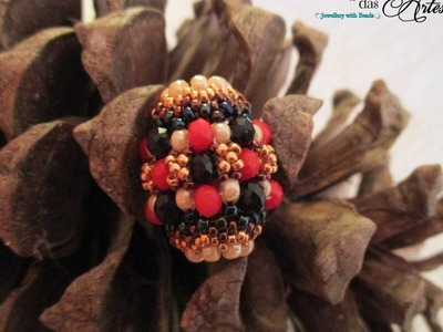 [ENG] Barrel beaded bead with rondelles and seed beads - Beading Tutorial