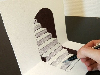 How to Draw 3D Steps - Art Trick
