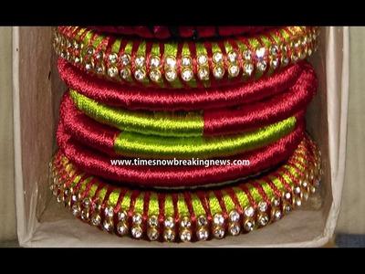 How to make Designer Silk Thread Bangles Set at Home | Tutorial, Mythos Silk Thread Bangles latest