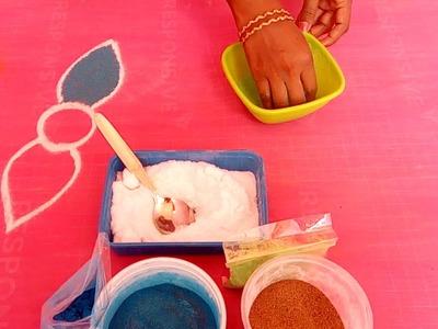 How to make rangoli colour powder using salt and dry sand