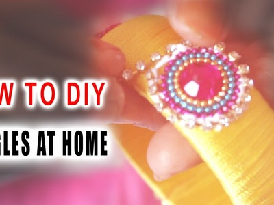 How to make silk thread bangles with gold drop chain # yellow color threads