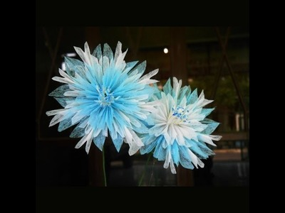 How to make tissue paper flowers : snowflakes (slower version)
