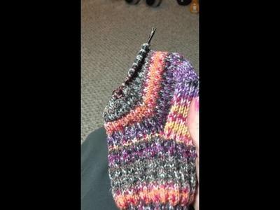 "Knitting a sock on 9"" circular #4"
