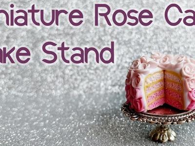 Miniature Polymer Clay Rose Cake & Cake Stand Tutorial