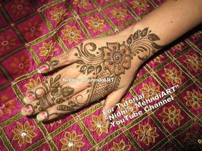 NEW Floral Arabic Mehndi Henna Design For Back Hands Tutorial