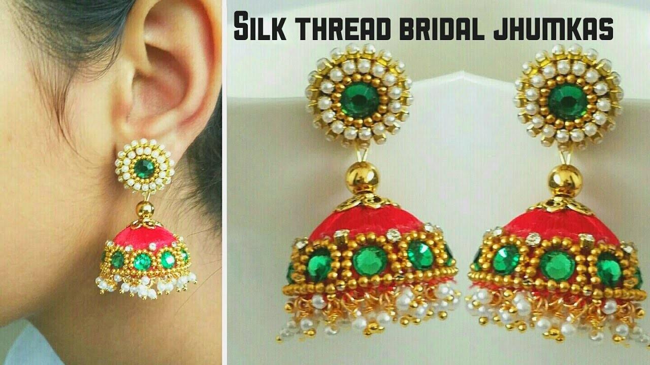 Silk Thread Bridal Jhumkas (Tutorial)||silk thread designer jhumkas making