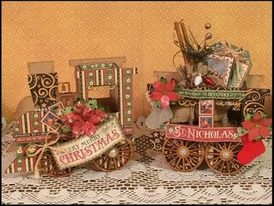 TUTORIAL HOLIDAY TRAIN 2016 DESIGNS BY SHELLIE with GRAPHIC 45 ST NICHOLAS PAPER
