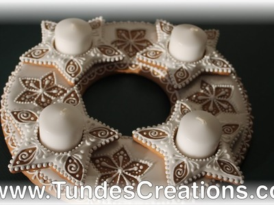 White gingerbread Advent wreath, Christmas centerpiece cookie