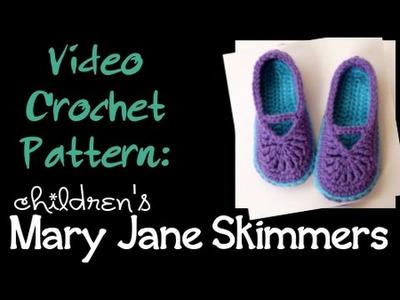 Crochet Pattern: children's Mary Jane Skimmers