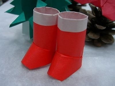 DIY, how To Make Santa Claus Boots, Super Easy, Origami for Beginners, Christmas DIY