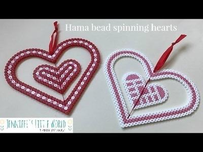 Spinning hanging Hama bead hearts