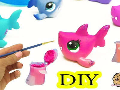 Custom Painting DIY Littlest Pet Shop Shark - LPS Do It YourSelf Cookieswirlc Craft Video#1 #2 #3
