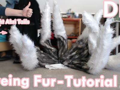 DIY  | Dyeing Fur Tutorial -  Ahri Tails | CHEAP & EASY & FAST