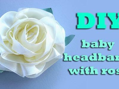 DIY headband for baby with rose.kanzashi