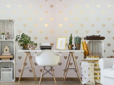 DIY Heart Mural with Hearts Allover Stencils - DIY Office Decor