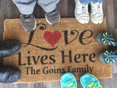 DIY Personalized Door Mat Using Stencils - Love Lives Here