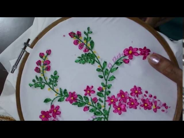 Hand embroidery ribbon work leishas galaxy my crafts