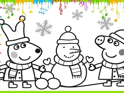 Peppa Pig and snowman Christmas outing, Coloring video for kids - Painting Baby