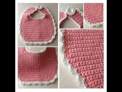 Bib - Crochet Pink Baby Bib - Baby Crochet - Pink and White