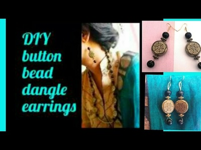 Button bead dangle earrings tutorial for beginners how to make fashionable yet antique earrings  DIY