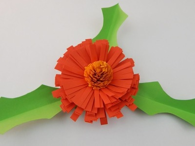 Dark orange quilling flower DIY papercraft party table decoration