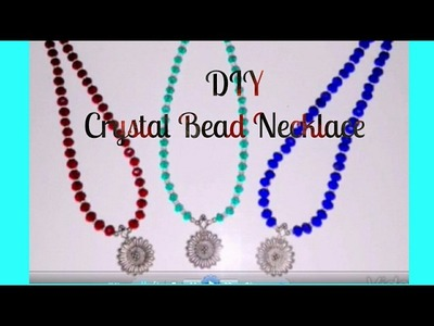DIY crystal bead necklace | Pendant necklace tutorial for beginners | How to make simple necklace