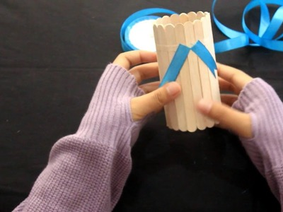 """DIY """"How to make a pencil holder from ice cream sticks"""" - INDONESIA"""
