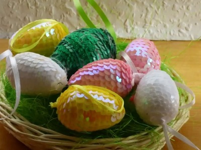 Egg decorating ideas.How to make sequin Easter egg-creative craft for kids.