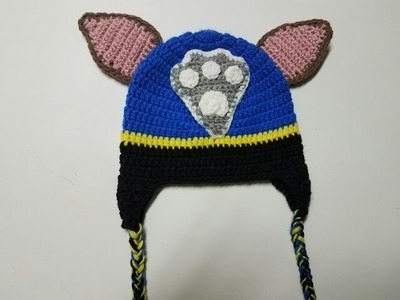 Gorro de Chase Patrulla Canina a crochet. Crochet Chase hat from Paw Patrol.