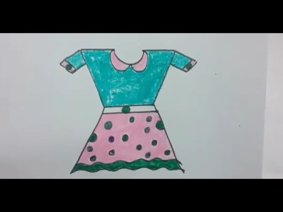 How to draw frock using basic shapes,  kids frock drawing