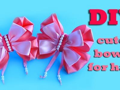 How to make bows for girl. DIY  cute bows for hair.  kanzashi